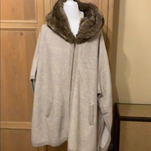 Zara Faux Fur Zip Knit Cape
